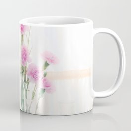 pink flower and orange flower in the vase with curtain background Coffee Mug