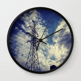 Heavenly spring sky in an industrial world Wall Clock