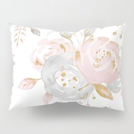 Roses Gold Glitter Pink by Nature Magick Pillow Sham