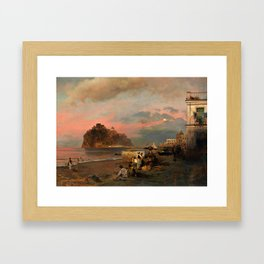 View of Ischia and Maronti Beach with Aragonese Castle by Oswald Achenbach Italian Landscape Framed Art Print