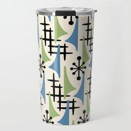 Mid Century Modern Atomic Wing Composition Blue & Sage Travel Mug