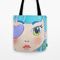 magical girl Tote Bags featuring Magical Girl by Chanael Burat