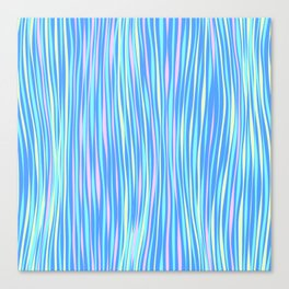 Colorful stripes over blue Canvas Print