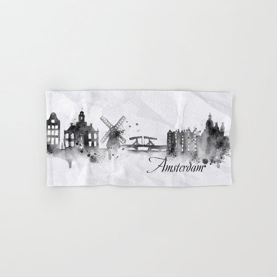 White Amsterdam Skyline Hand & Bath Towel