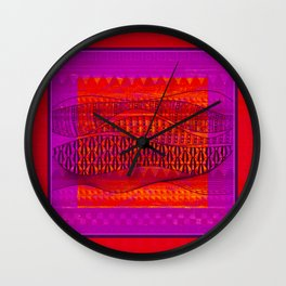 Pattern in Red and Purple Wall Clock