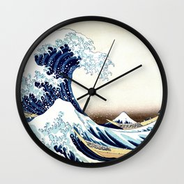 The Great Wave off KanagawA muted Wall Clock