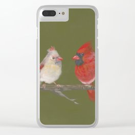 Pastel Cardinals Clear iPhone Case