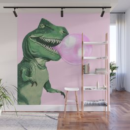 Bubble gum T-Rex in Pink Wall Mural
