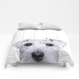 Schnauzer White Dog original painting print Comforters