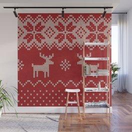 Christmas pattern knitting handmade scandinavian iIllustration with reindeer and heart Wall Mural
