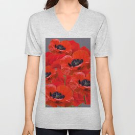 MONTAGE OF RED ORIENTAL POPPIES GREY COLOR ART Unisex V-Neck