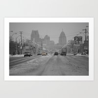 detroit Art Prints featuring Detroit by VLawrey