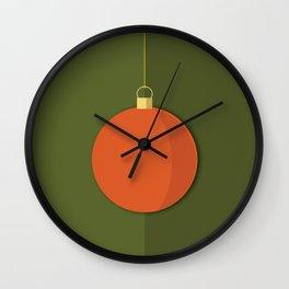 Christmas Globe - Illustration in Green and Orange Wall Clock