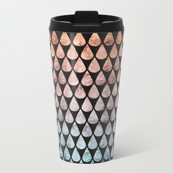 Iridescent raindrops rainbow black gradient Metal Travel Mug