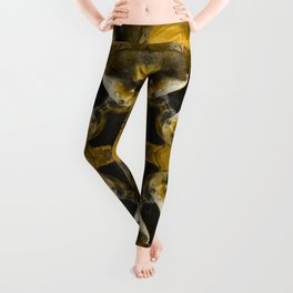 Big Tail Fish Psychedelic Arts - Gold Fish Pattern Leggings