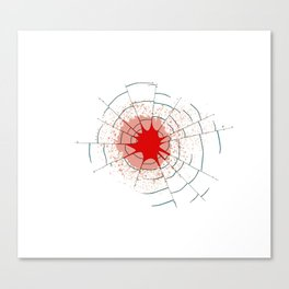 Single Bullet Holes in Glass Canvas Print