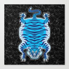 TIBETAN TIGER - BLUE (black) Canvas Print