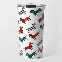 Christmas Dachshunds Red Flannel Travel Mug