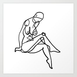 Abstract One Line Female Nude Figure Art Print