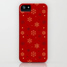 Red background with black and gold snowflake xmas pattern iPhone Case