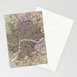 Vintage Map of London England (1872) Stationery Cards