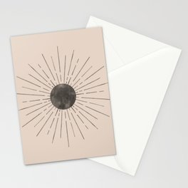 Abstract beige and black sun Stationery Cards