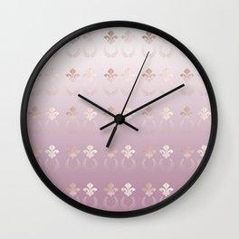 Elegant Fleur-de-lis and Laurel Wreath Gradient Wall Clock