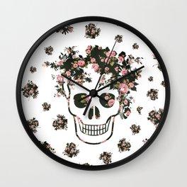 Flower Skull, Floral Skull, Pink Flowers on Human Skull Wall Clock