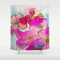 cherry blossom Shower Curtains featuring Cherry Blossom by Marcella Wylie