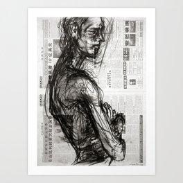 Waiting - Charcoal on Newspaper Figure Drawing Art Print