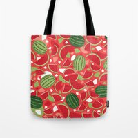 watermelon Tote Bags featuring Watermelon by Ornaart