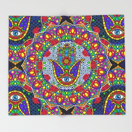 Hamsa Harmony Mandala Throw Blanket