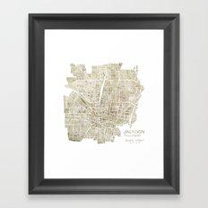 Jackson Mississippi watercolor city map Framed Art Print