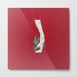 Torn Around — Red Map Metal Print