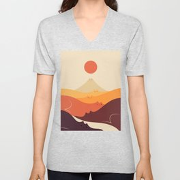 Cat Landscape 87 Unisex V-Neck