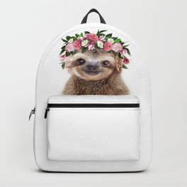 Baby Sloth With Flower Crown, Baby Animals Art Print By Synplus Backpack
