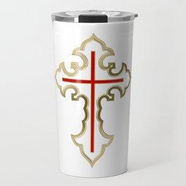 Golden Christian cross Travel Mug