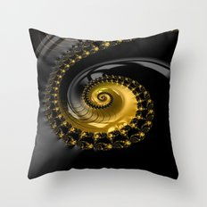 Fractal Shell Black Gold Throw Pillow