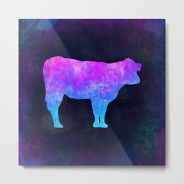 COW IN SPACE // Animal Graphic Art // Watercolor Canvas Painting // Modern Minimal Cute Metal Print