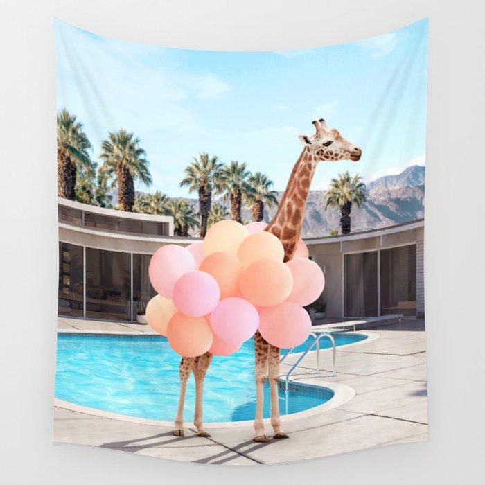 Giraffe Palm Springs Wall Tapestry