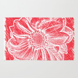 White Flower On Crayon Red Rug