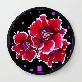 Red & White Gloxinia Floral Ebony-Violet Abstract Wall Clock