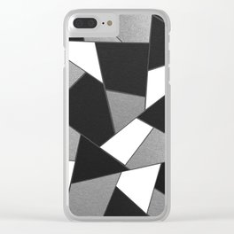 Silver Gray Black White Geometric Glam #1 #geo #decor #art #society6 Clear iPhone Case