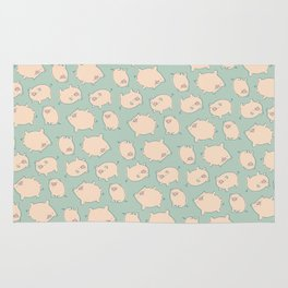 small pigs (teal) Rug