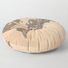 Henna Ink World Map Floor Pillow