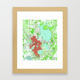 Vintage Map of Lakeland Florida (1944) Framed Art Print