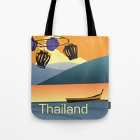 thailand Tote Bags featuring Thailand by Shirong Gao