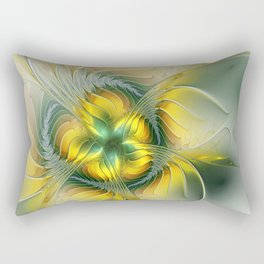 Golden Fantasy Flower, Fractal Art Rectangular Pillow