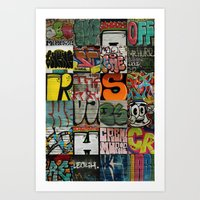 grafitti Art Prints featuring grafitti collage by laika in cosmos