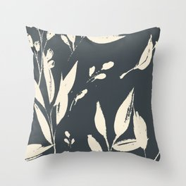 Midnight jungle: black and white modern ink botanicals Throw Pillow